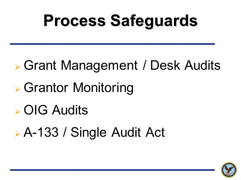 Process Safeguards  Grant Management / Desk Audits  Grantor Monitoring  OIG Audits  A-133 / Single Audit Act