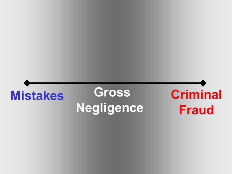 Mistakes Gross Negligence Criminal Fraud
