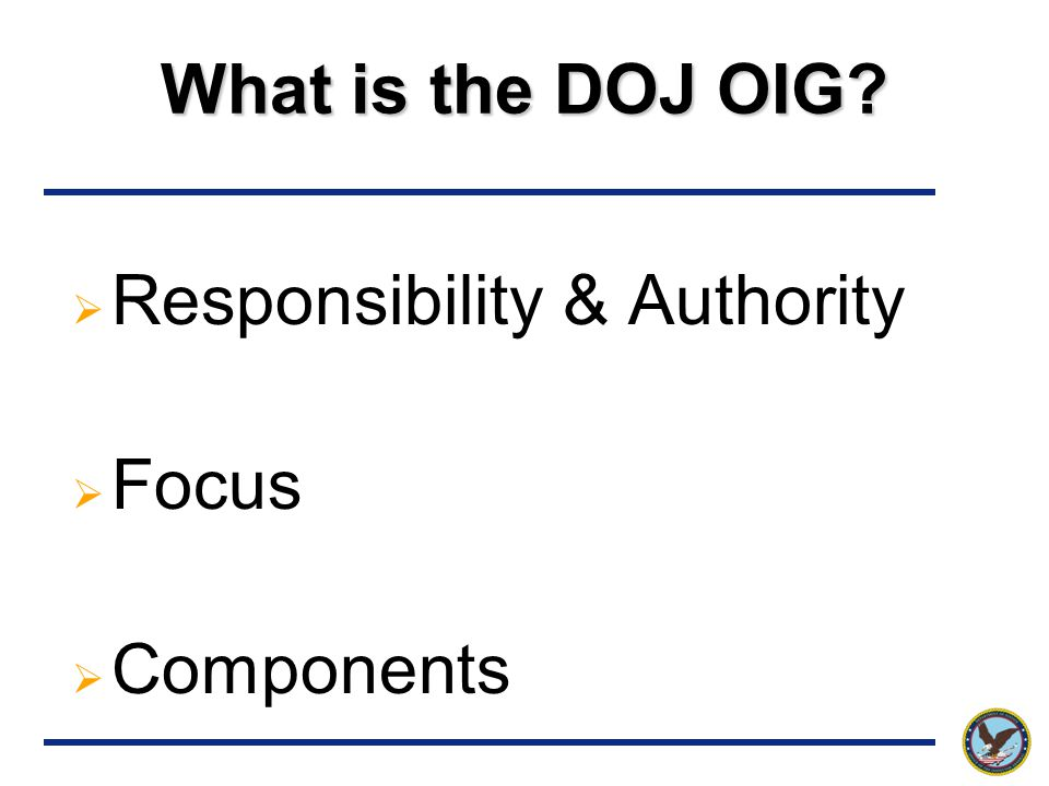 What is the DOJ OIG  Responsibility & Authority  Focus  Components