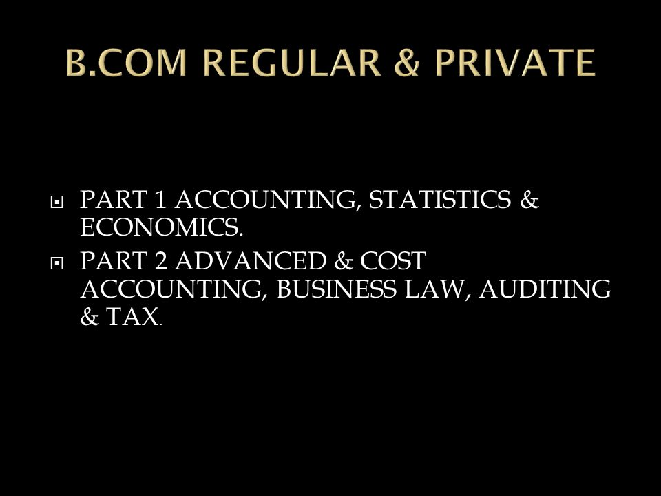  PART 1 ACCOUNTING, STATISTICS & ECONOMICS.