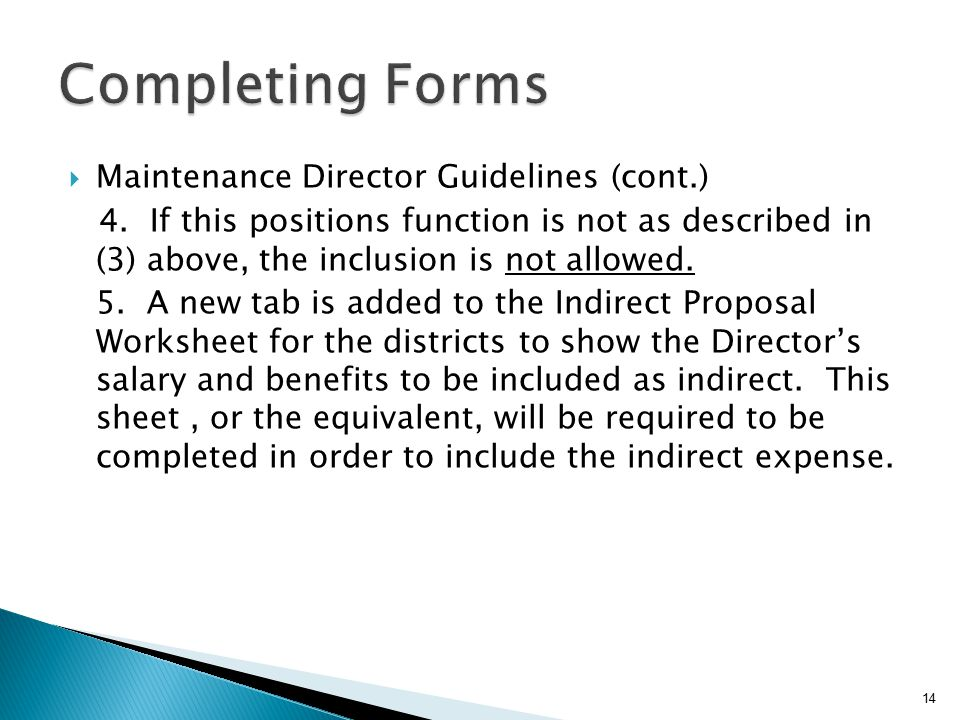  Maintenance Director Guidelines (cont.) 4.