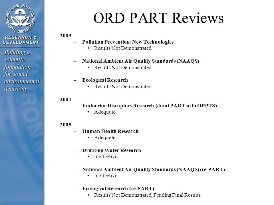 ORD PART Reviews 2003 –Pollution Prevention/ New Technologies Results Not Demonstrated –National Ambient Air Quality Standards (NAAQS) Results Not Dem