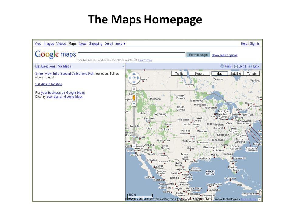 The Maps Homepage