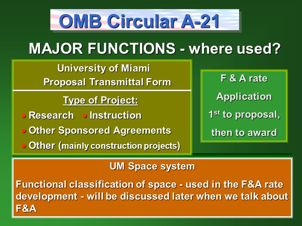 MAJOR FUNCTIONS - where used.