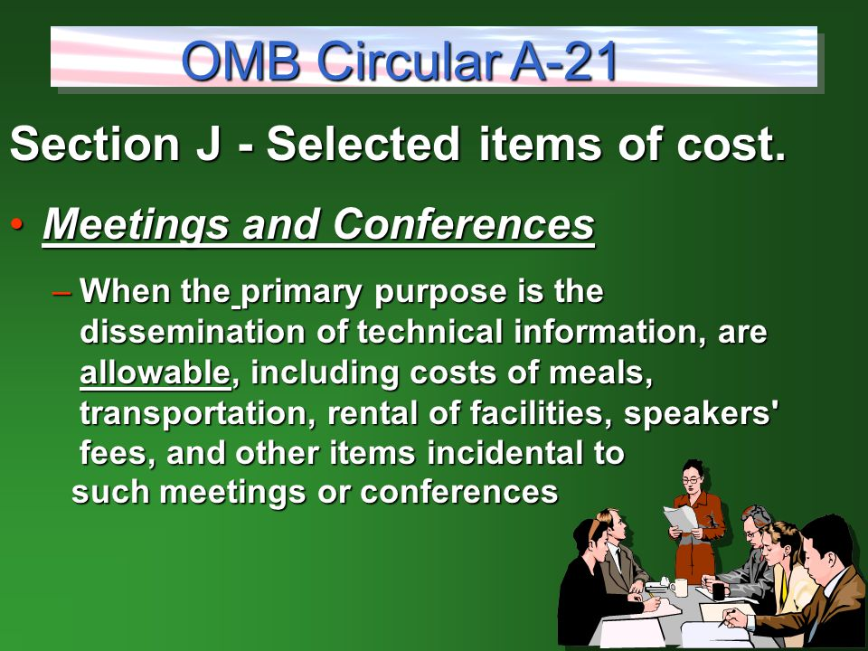Section J - Selected items of cost.