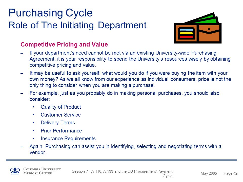 May 2005 Session 7 - A-110, A-133 and the CU Procurement/ Payment Cycle Page 41 Purchasing Cycle Role of The Initiating Department University-Wide Pur