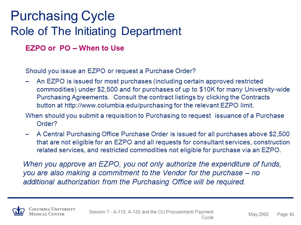 May 2005 Session 7 - A-110, A-133 and the CU Procurement/ Payment Cycle Page 44 Purchasing Cycle Role of The Initiating Department Departmental Roles