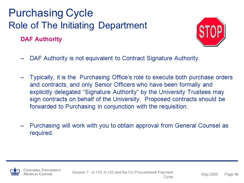 May 2005 Session 7 - A-110, A-133 and the CU Procurement/ Payment Cycle Page 47 Purchasing Cycle Role of The Initiating Department What is a Purchase