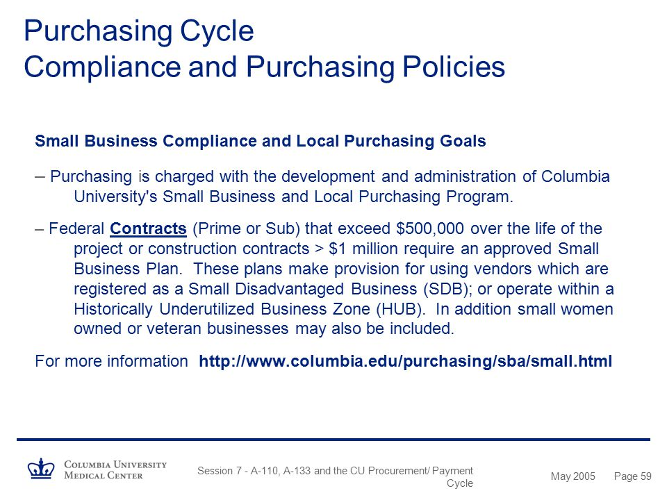 May 2005 Session 7 - A-110, A-133 and the CU Procurement/ Payment Cycle Page 58 Small Business Compliance and Local Purchasing Goals – The Federal Gov