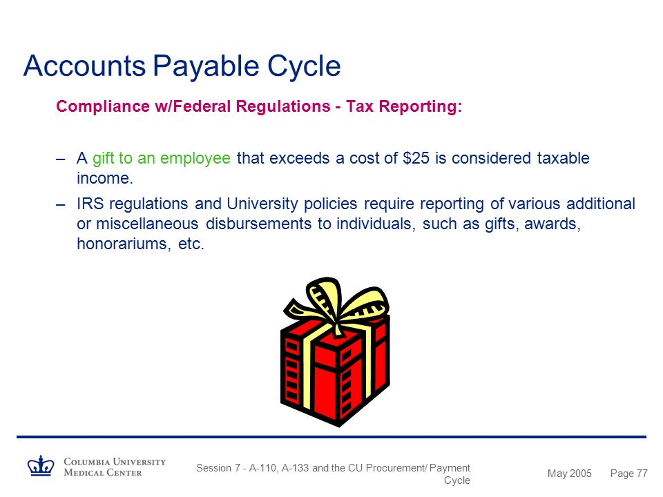 May 2005 Session 7 - A-110, A-133 and the CU Procurement/ Payment Cycle Page 76 Accounts Payable Cycle Compliance w/University Guidelines - General Re