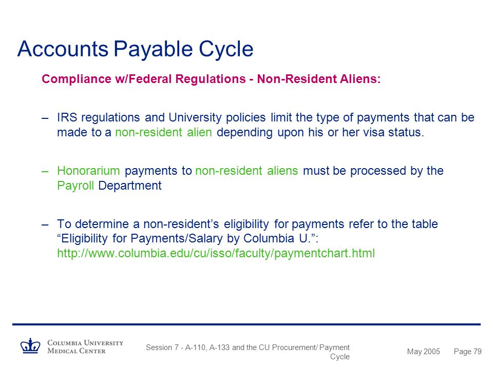 May 2005 Session 7 - A-110, A-133 and the CU Procurement/ Payment Cycle Page 78 Accounts Payable Cycle Compliance w/Federal Regulations - Cash Awards: