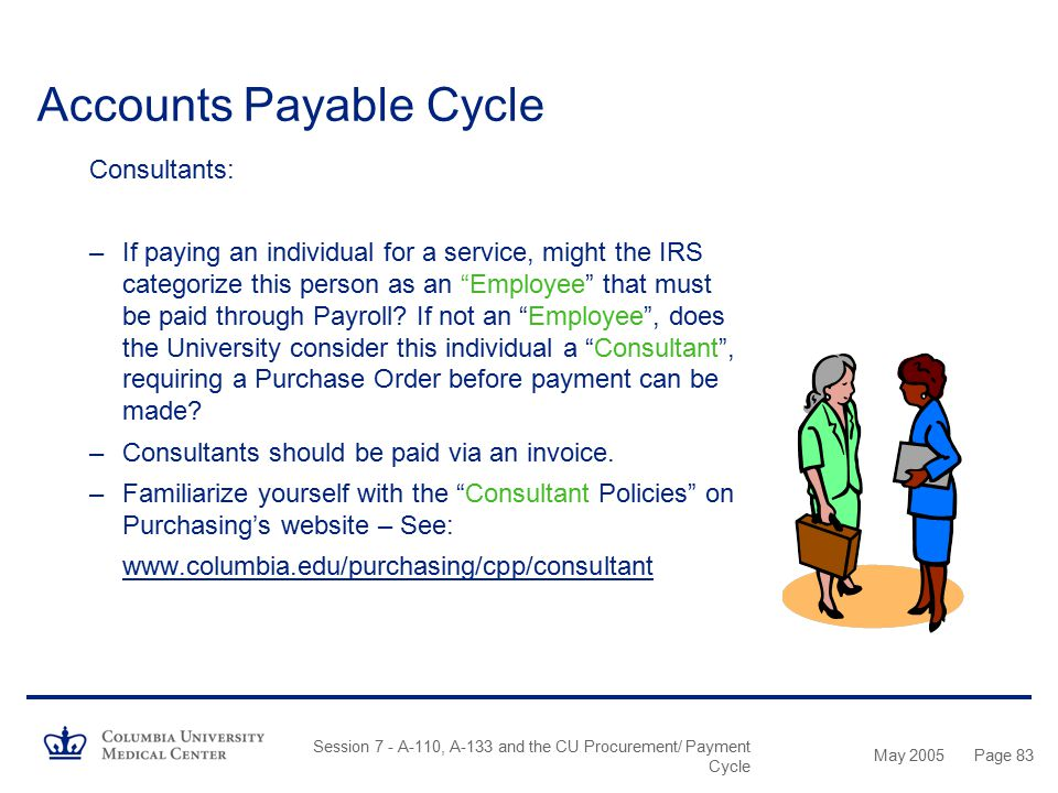 May 2005 Session 7 - A-110, A-133 and the CU Procurement/ Payment Cycle Page 82 Accounts Payable Cycle Check Requests When To Use: –Subscriptions and