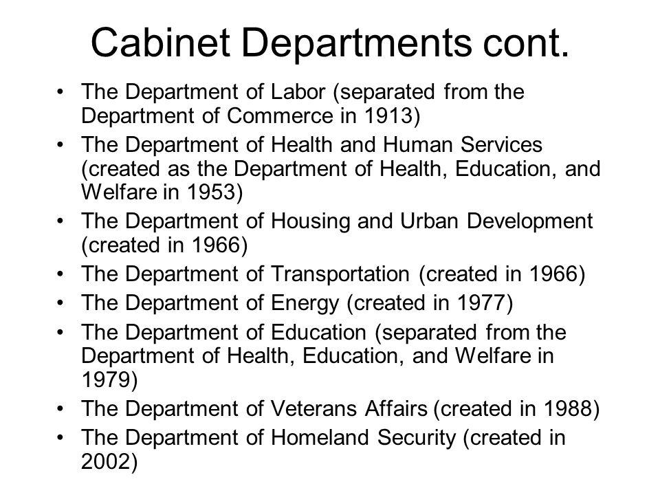 Cabinet Departments cont.