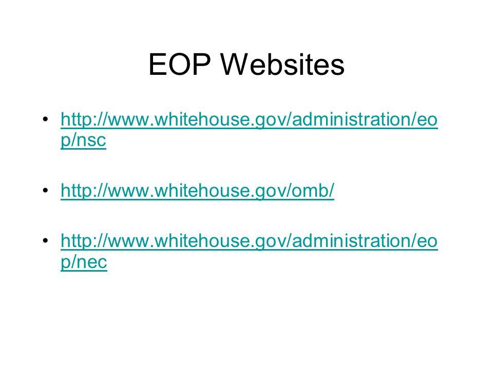 EOP Websites http://www.whitehouse.gov/administration/eo p/nschttp://www.whitehouse.gov/administration/eo p/nsc http://www.whitehouse.gov/omb/ http://www.whitehouse.gov/administration/eo p/nechttp://www.whitehouse.gov/administration/eo p/nec