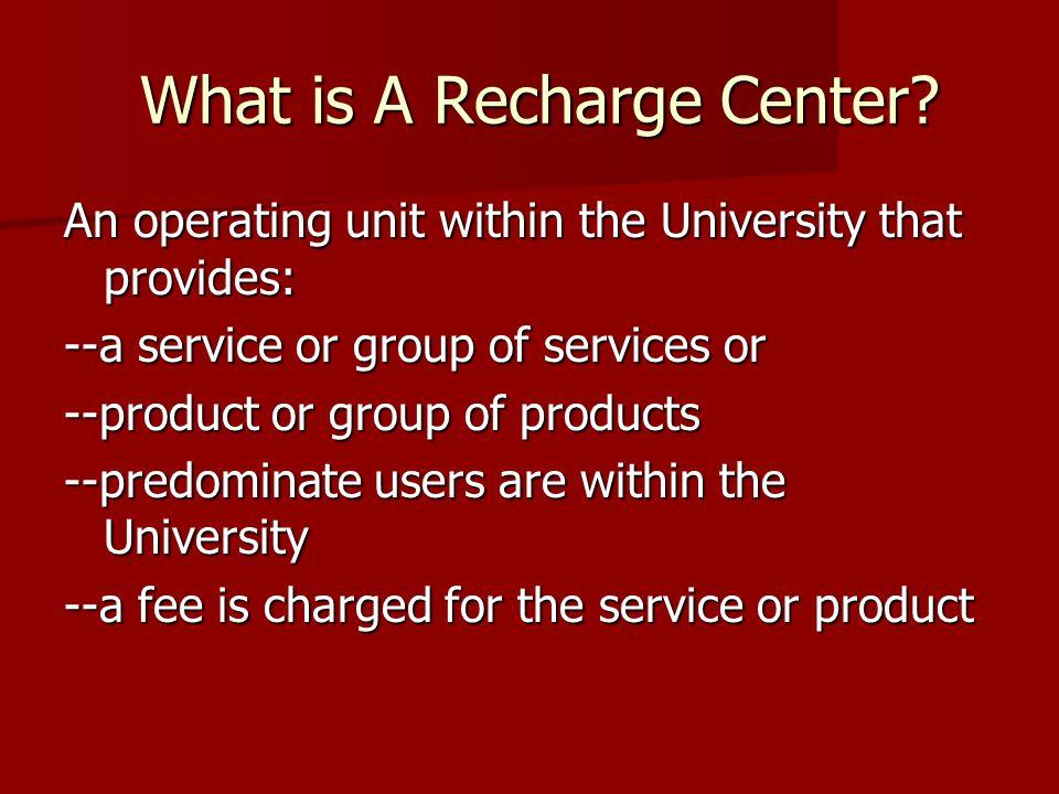 What is A Recharge Center. What is A Recharge Center.