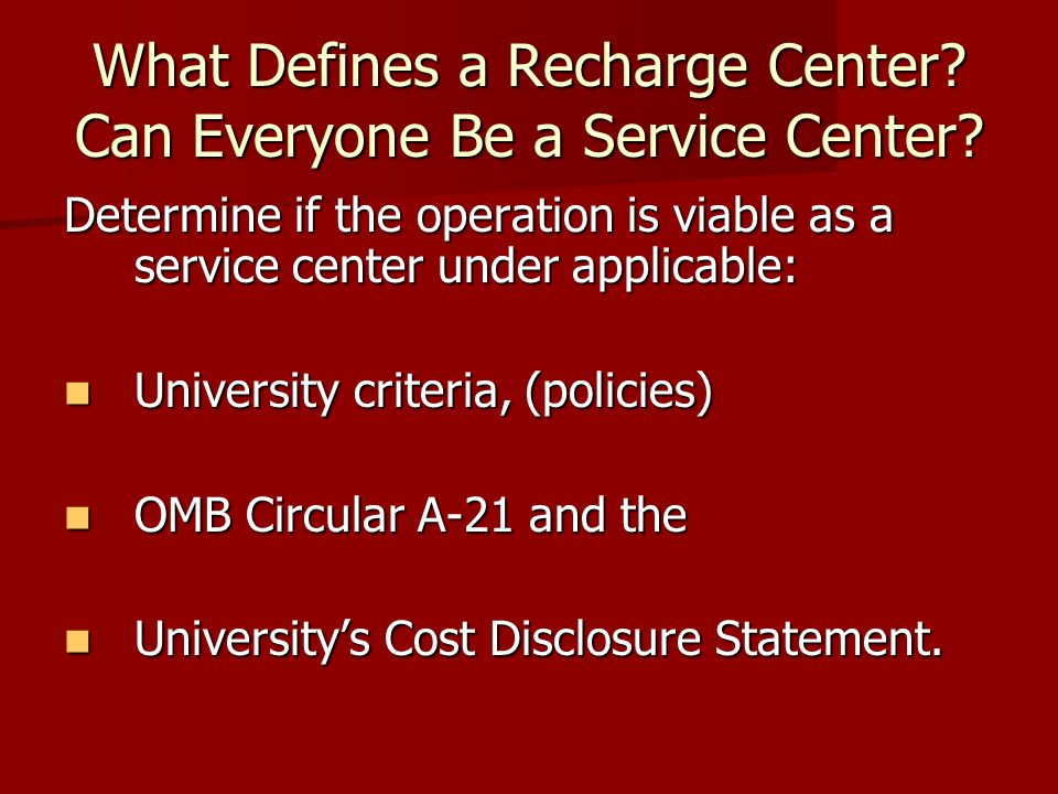 What Defines a Recharge Center. Can Everyone Be a Service Center.