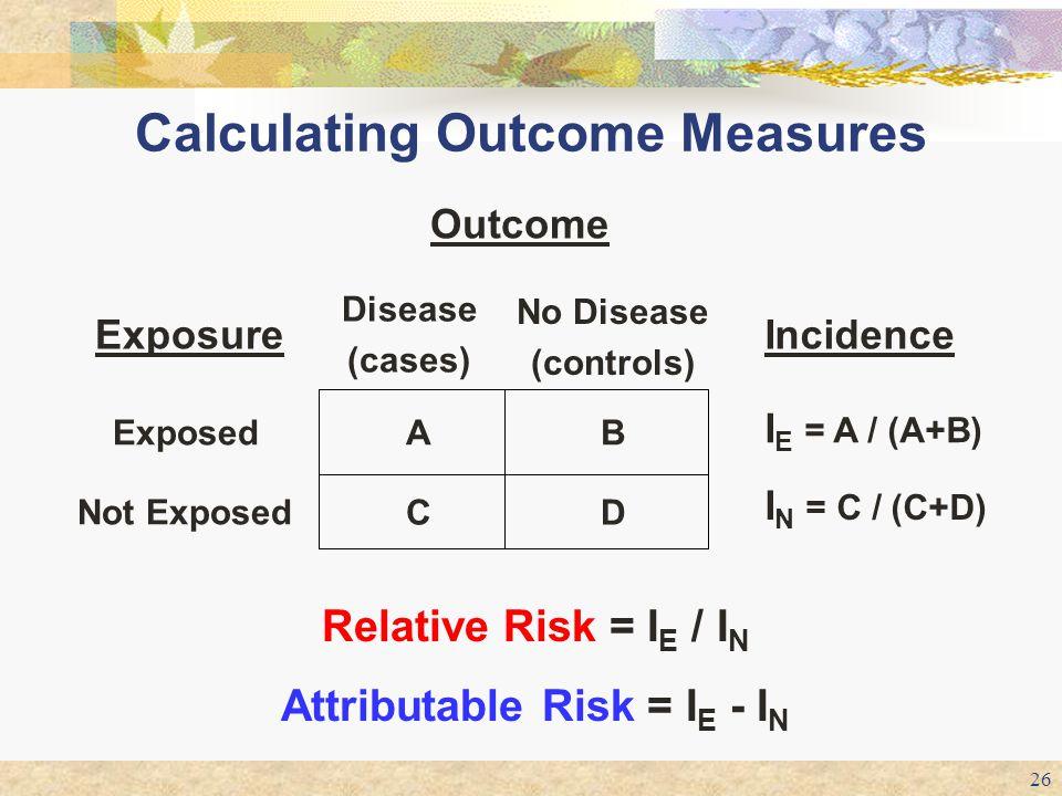 26 Calculating Outcome Measures Outcome D B No Disease (controls) I N = C / (C+D) C Not Exposed I E = A / (A+B) AExposed Incidence Disease (cases) Exp