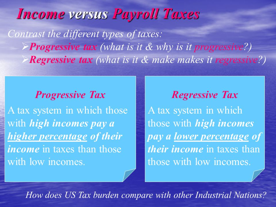Progressive Tax A tax system in which those with high incomes pay a higher percentage of their income in taxes than those with low incomes.
