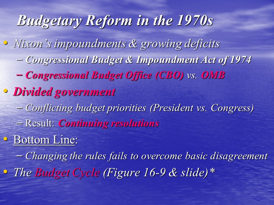 Budgetary Reform in the 1970s Nixon's impoundments & growing deficits Nixon's impoundments & growing deficits – Congressional Budget & Impoundment Act of 1974 – Congressional Budget Office (CBO) vs.