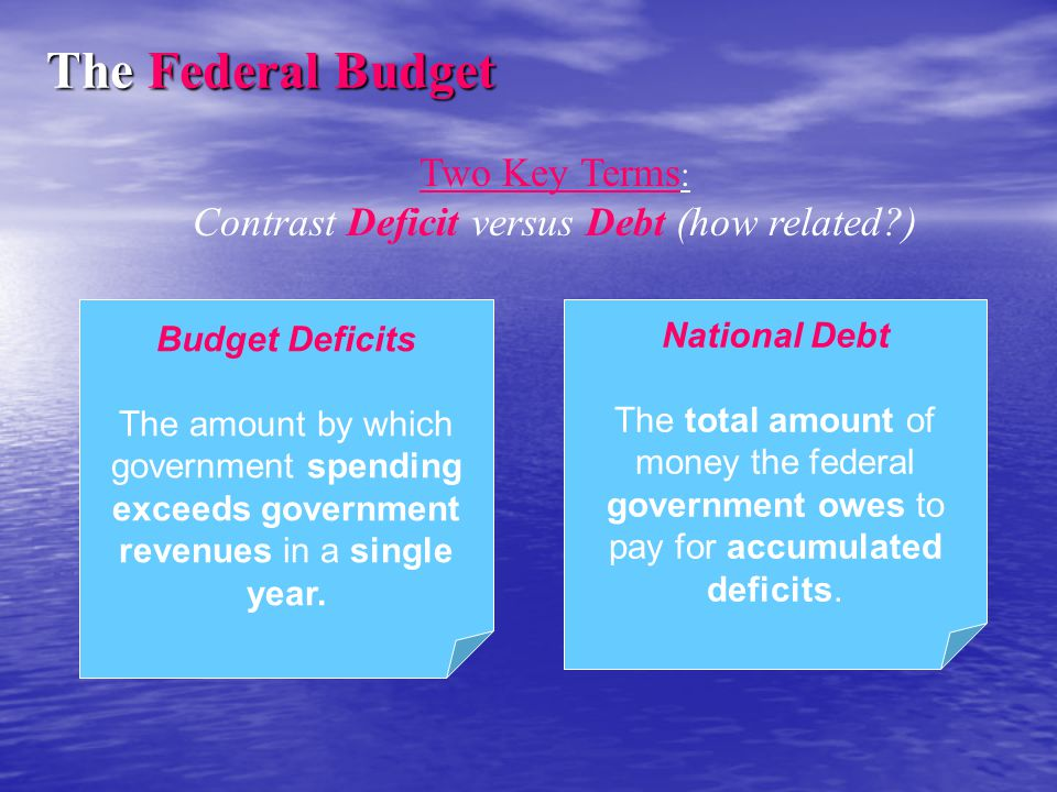 Budget Deficits The amount by which government spending exceeds government revenues in a single year. National Debt The total amount of money the fede