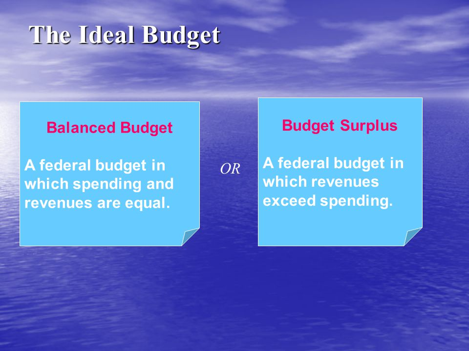 Balanced Budget A federal budget in which spending and revenues are equal. Budget Surplus A federal budget in which revenues exceed spending. The Idea