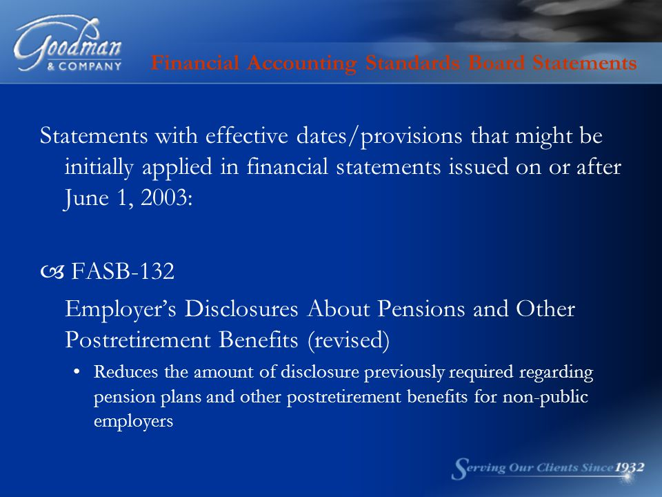 Financial Accounting Standards Board Statements Statements with effective dates/provisions that might be initially applied in financial statements iss