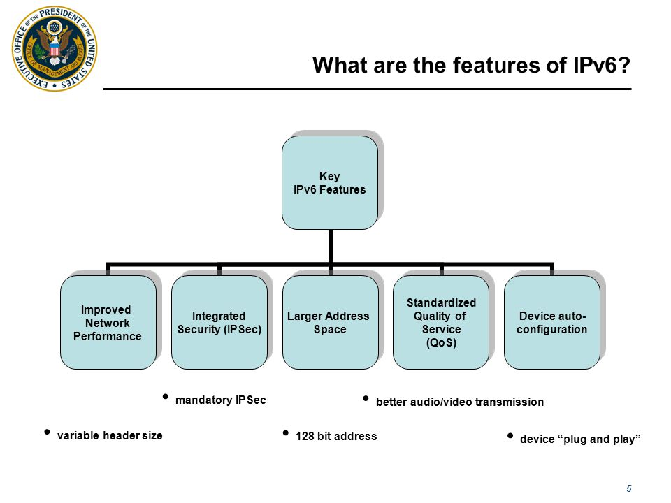 5 What are the features of IPv6? [ Please read the notes section for more detail ] Key IPv6 Features Improved Network Performance Integrated Security