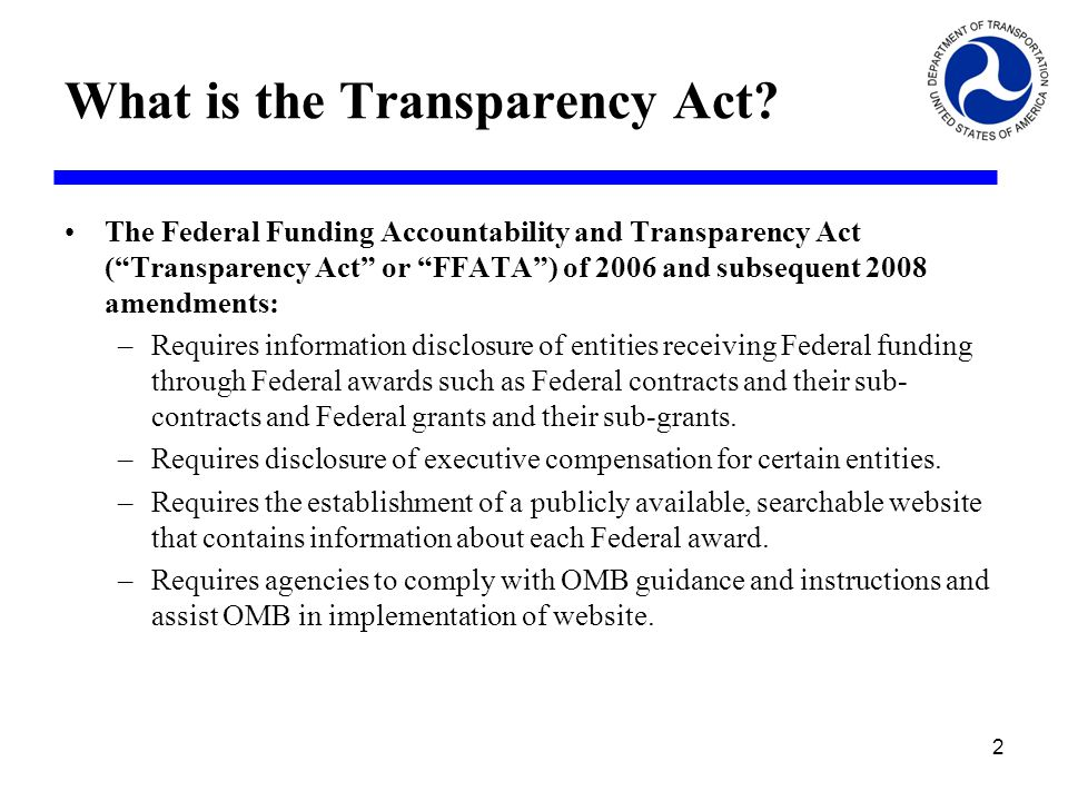 What is the Transparency Act.