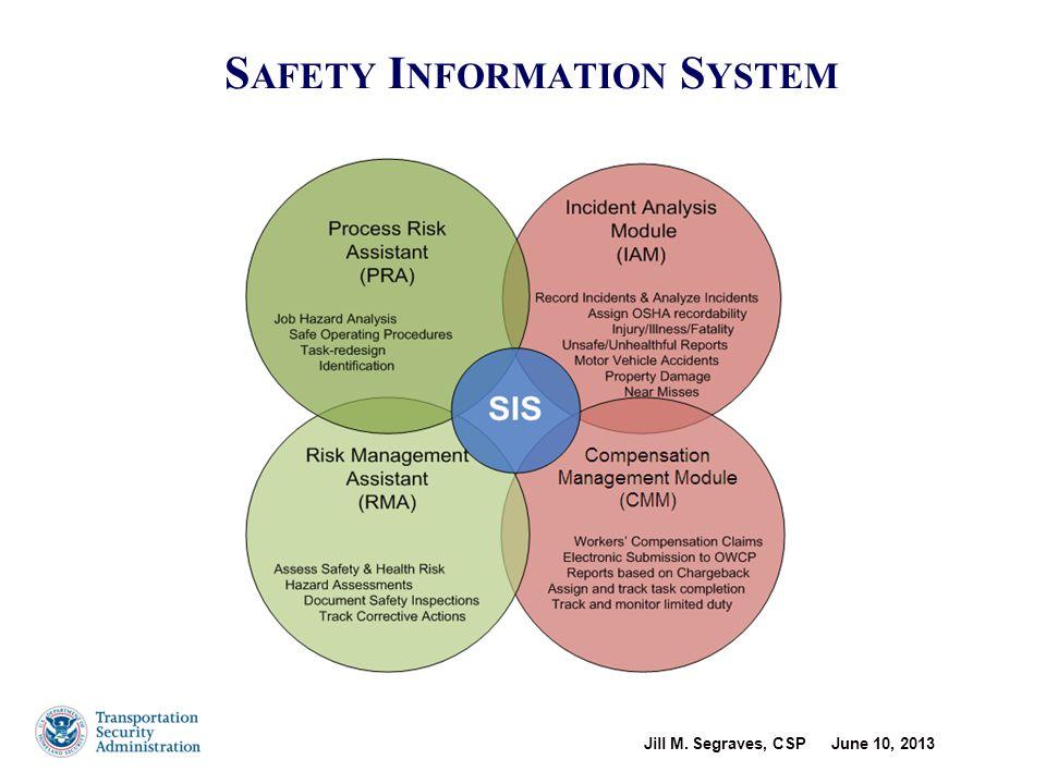Jill M. Segraves, CSP June 10, 2013 S AFETY I NFORMATION S YSTEM 10