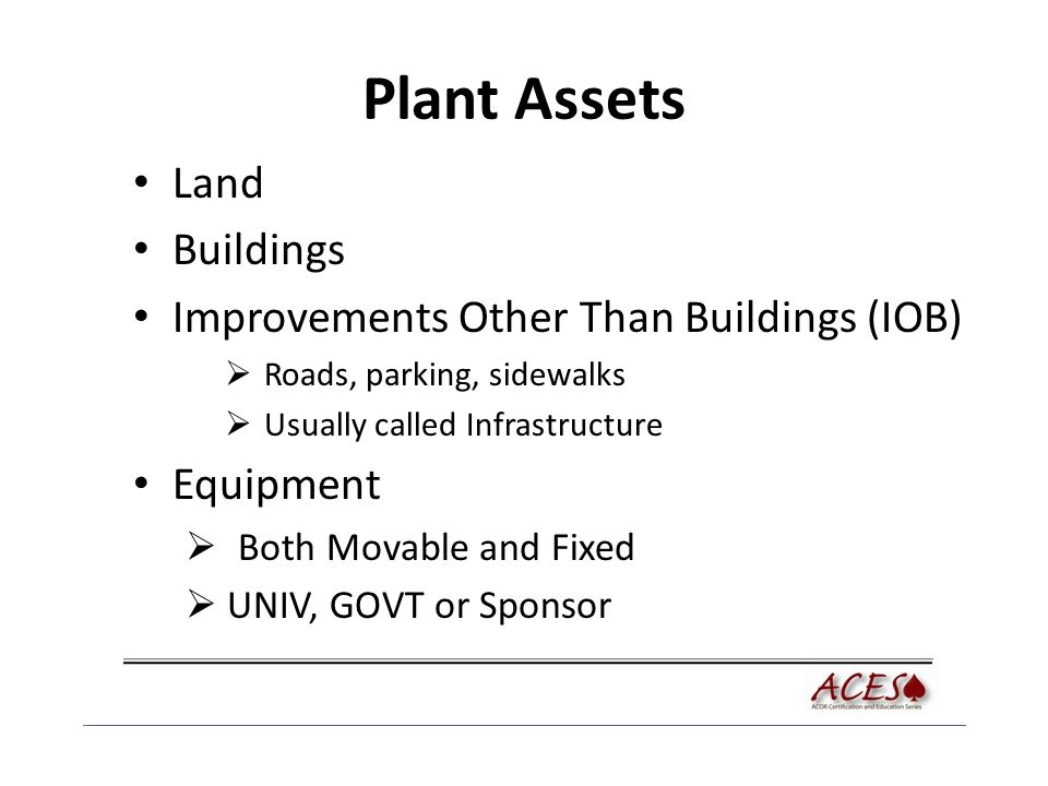 Plant Assets Land Buildings Improvements Other Than Buildings (IOB)  Roads, parking, sidewalks  Usually called Infrastructure Equipment  Both Movable and Fixed  UNIV, GOVT or Sponsor