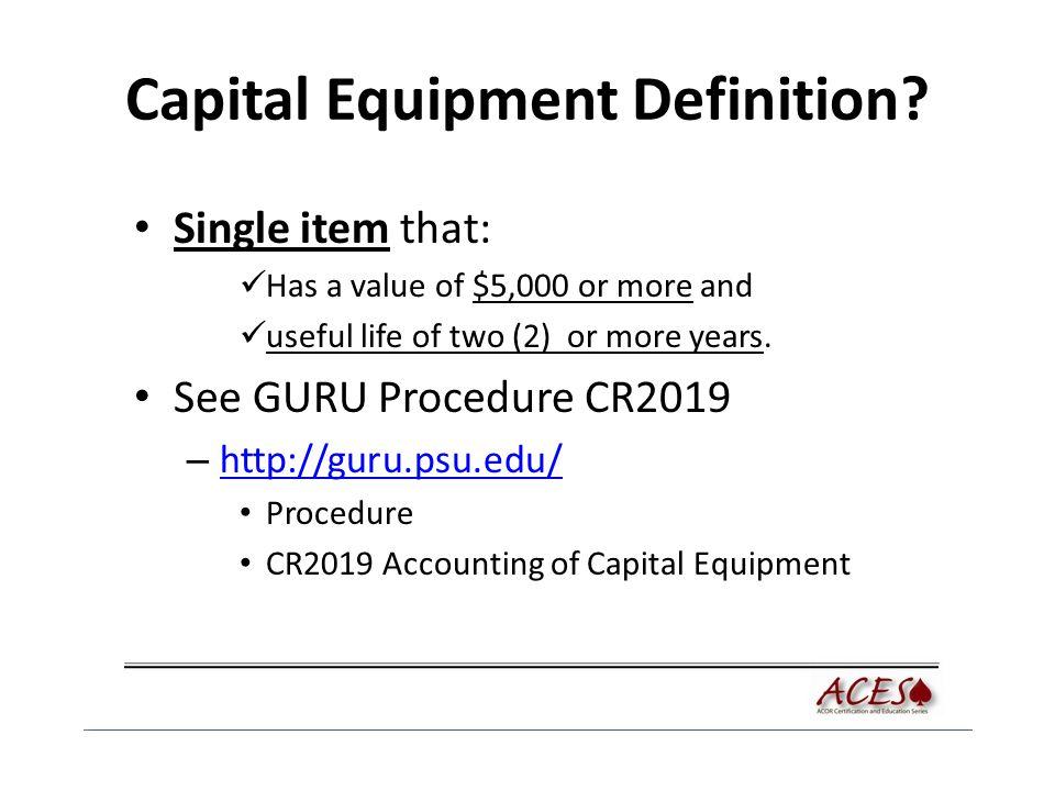 Capital Equipment Definition.