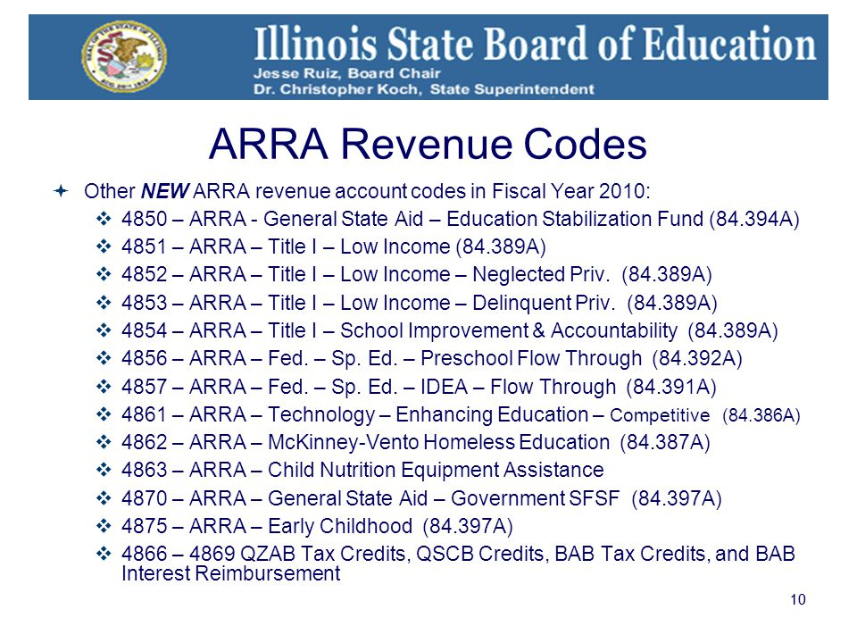 10 ARRA Revenue Codes  Other NEW ARRA revenue account codes in Fiscal Year 2010:  4850 – ARRA - General State Aid – Education Stabilization Fund (84.394A)  4851 – ARRA – Title I – Low Income (84.389A)  4852 – ARRA – Title I – Low Income – Neglected Priv.