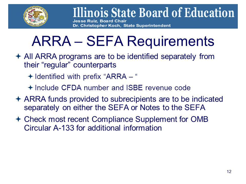 12 ARRA – SEFA Requirements  All ARRA programs are to be identified separately from their regular counterparts  Identified with prefix ARRA –  Include CFDA number and ISBE revenue code  ARRA funds provided to subrecipients are to be indicated separately on either the SEFA or Notes to the SEFA  Check most recent Compliance Supplement for OMB Circular A-133 for additional information