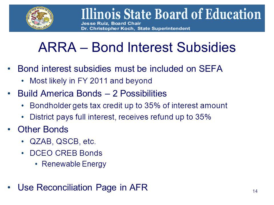 14 ARRA – Bond Interest Subsidies Bond interest subsidies must be included on SEFA Most likely in FY 2011 and beyond Build America Bonds – 2 Possibilities Bondholder gets tax credit up to 35% of interest amount District pays full interest, receives refund up to 35% Other Bonds QZAB, QSCB, etc.
