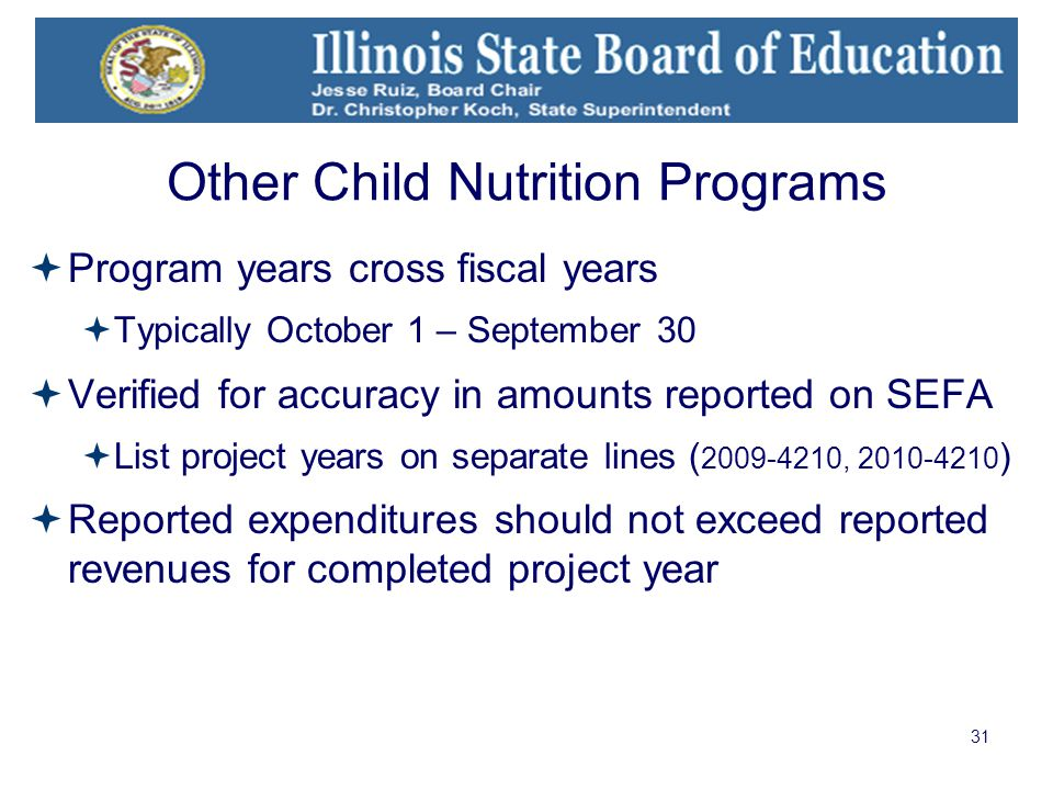 31 Other Child Nutrition Programs  Program years cross fiscal years  Typically October 1 – September 30  Verified for accuracy in amounts reported on SEFA  List project years on separate lines ( 2009-4210, 2010-4210 )  Reported expenditures should not exceed reported revenues for completed project year