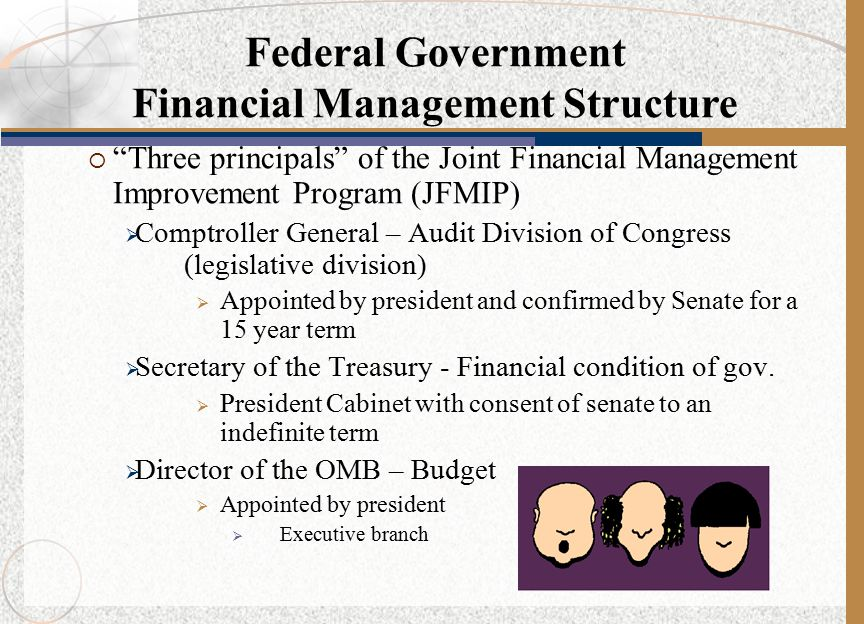 " ""Three principals"" of the Joint Financial Management Improvement Program (JFMIP)  Comptroller General – Audit Division of Congress (legislative div"