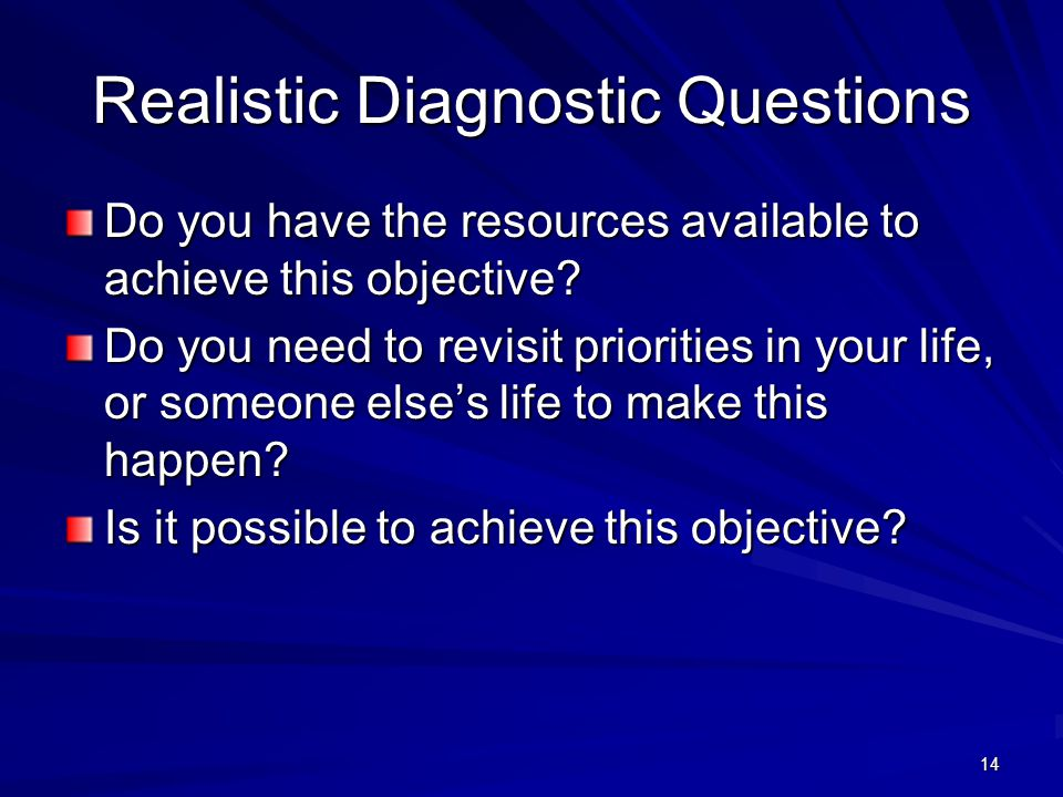 14 Realistic Diagnostic Questions Do you have the resources available to achieve this objective? Do you need to revisit priorities in your life, or so
