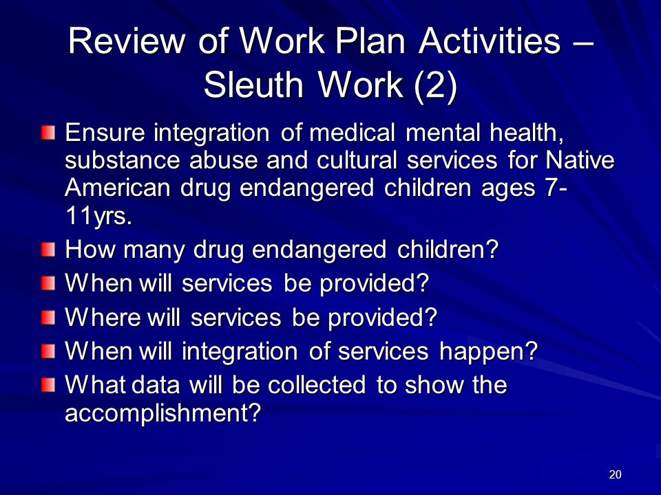 20 Review of Work Plan Activities – Sleuth Work (2) Ensure integration of medical mental health, substance abuse and cultural services for Native American drug endangered children ages 7- 11yrs.