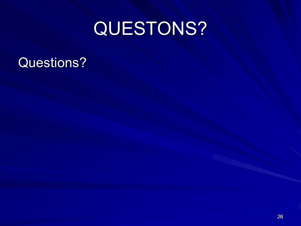 26 QUESTONS Questions