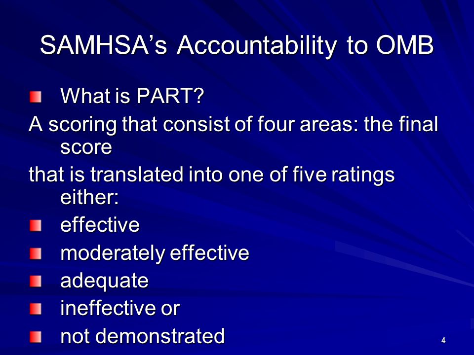 4 SAMHSA's Accountability to OMB What is PART.