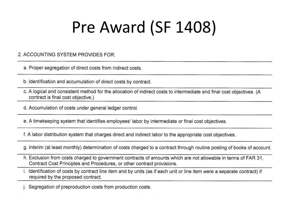 Pre Award (SF 1408)