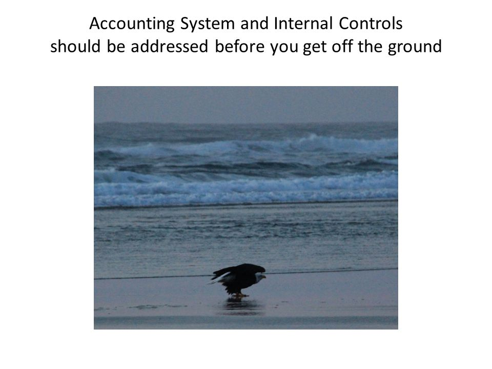 Accounting System and Internal Controls should be addressed before you get off the ground