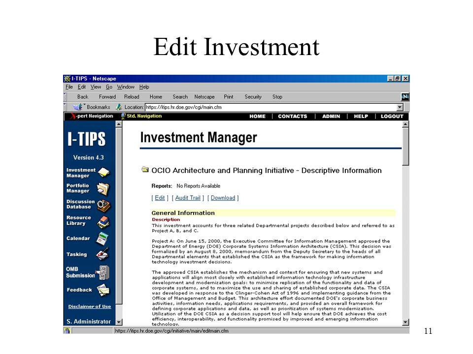 11 Edit Investment