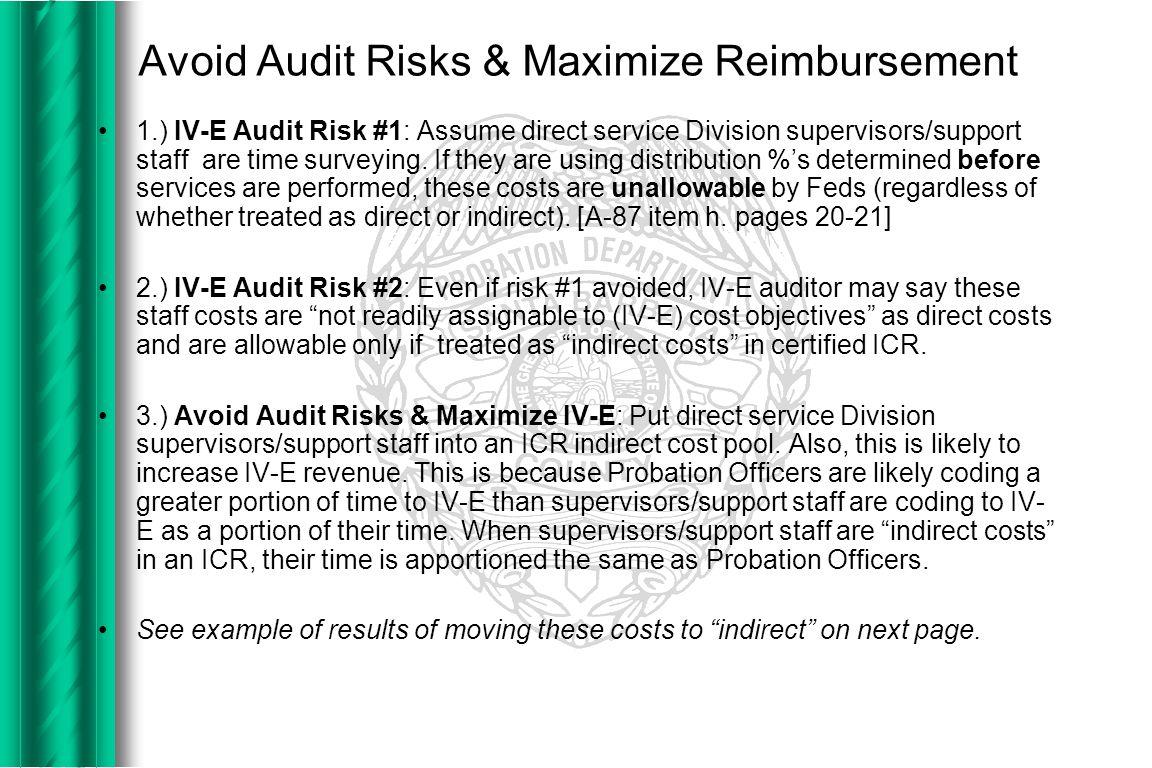 Avoid Audit Risks & Maximize Reimbursement 1.) IV-E Audit Risk #1: Assume direct service Division supervisors/support staff are time surveying.