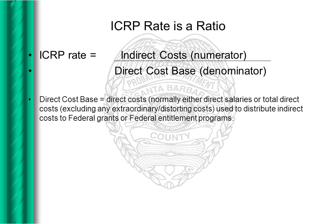 Indirect Cost Pools The total indirect costs (i.e.