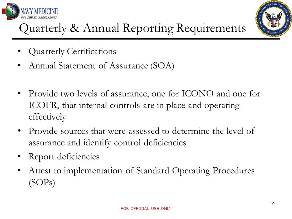 Quarterly & Annual Reporting Requirements Quarterly Certifications Annual Statement of Assurance (SOA) Provide two levels of assurance, one for ICONO