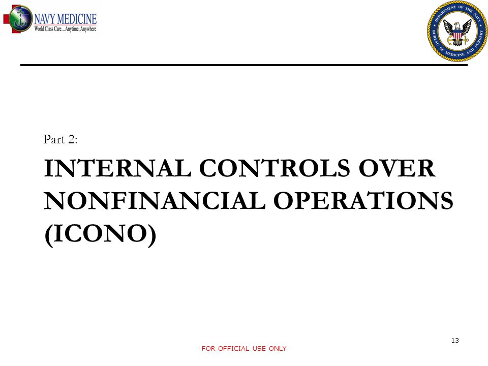INTERNAL CONTROLS OVER NONFINANCIAL OPERATIONS (ICONO) Part 2: FOR OFFICIAL USE ONLY 13