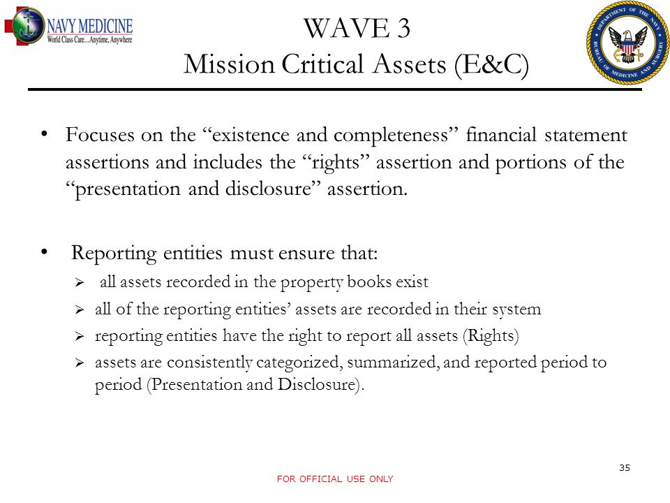 "WAVE 3 Mission Critical Assets (E&C) Focuses on the ""existence and completeness"" financial statement assertions and includes the ""rights"" assertion an"