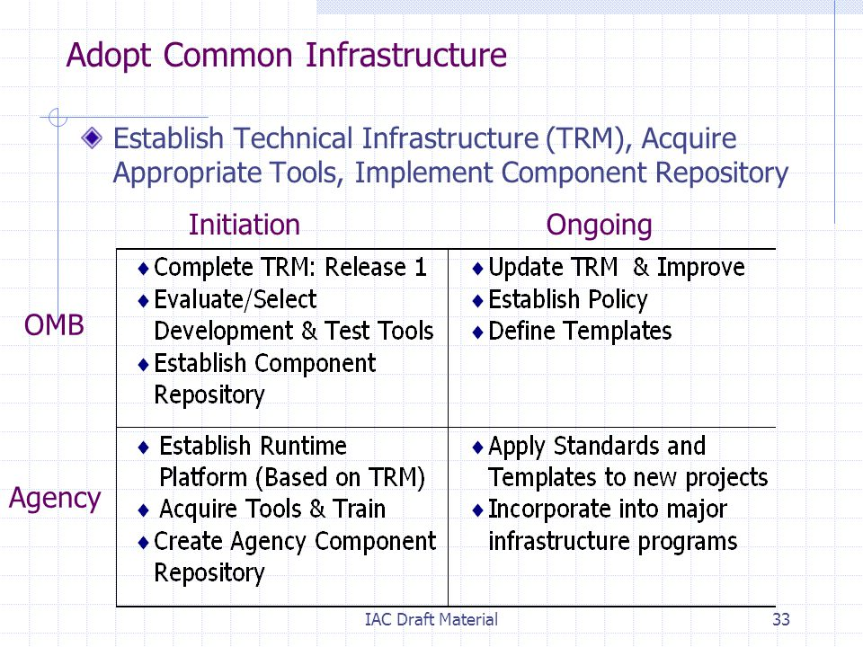 IAC Draft Material33 Adopt Common Infrastructure Establish Technical Infrastructure (TRM), Acquire Appropriate Tools, Implement Component Repository Initiation Ongoing OMB Agency