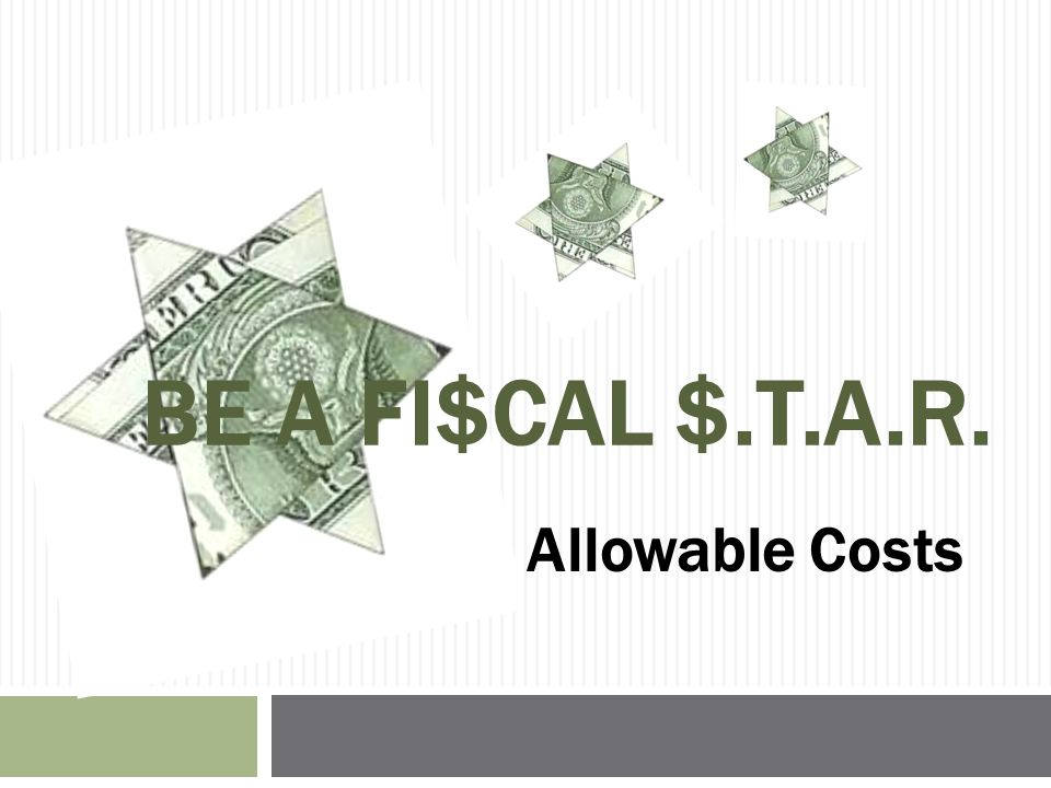 INDIRECT COST RATE & COST ALLOCATION PLANS Presenter: David Steele, Chief SMPID Fiscal Unit
